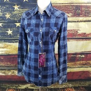 ROCK & ROLL COWGIRL PLAID SNAP UP WESTERN SHIRT